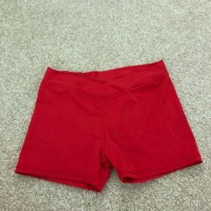 Pants - Red spandex shorts